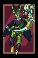 Cell vs. Squidward by AnutDraws