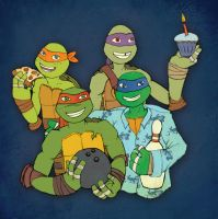 Birthday Turtles by Queequegg