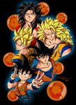 Son Goku Stages Colors Low Res by BDixonarts