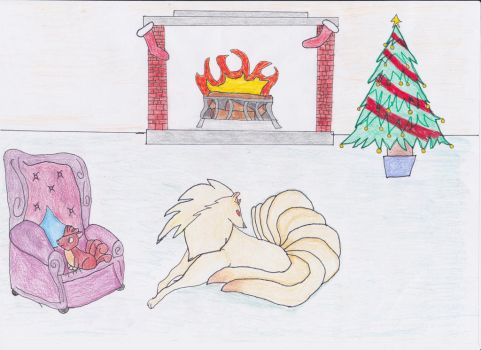 Pokemon Christmas-Vulpix and Ninetails by sezzac155