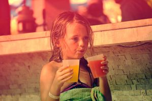 blond child and fruit juice by cagacaga