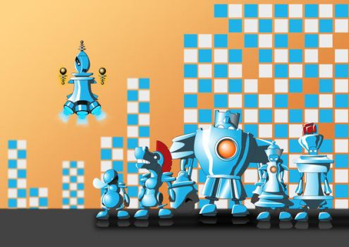 robot chess army by Jpgod