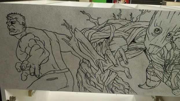 Crater City Comix Tombs WIP Hulk Groot ink by Wolfgang-Blaine