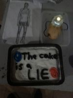 Cake with GLaDOS and Chell by The-darkness-rider