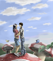 Two people on a mushroom by ThroughSpaceAndTime