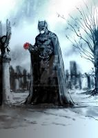 Bat on grave by SaintYak