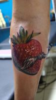 strawberry with a mustache tattoo by sass-tattoo