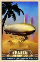 Airship Travel Poster - Pharaoh's Glory by zombie2012