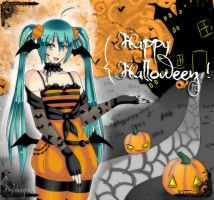 Miku says Happy Halloween ! by Hyldenia