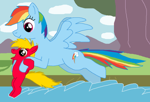 Rainbow Dash x Sunbeam: Water fun by DarthGoldstar710