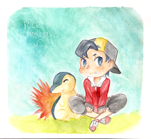 Gold and his Cyndaquil by kimixiii