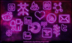 glowing purple neon icons by WebTreatsETC