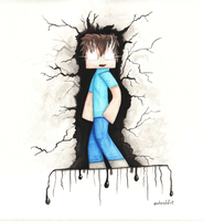 Herobrine Watercolor by owlmaddie
