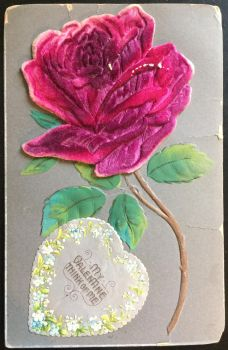 Antique Velvet Rose Valentines Postcard by KarRedRoses