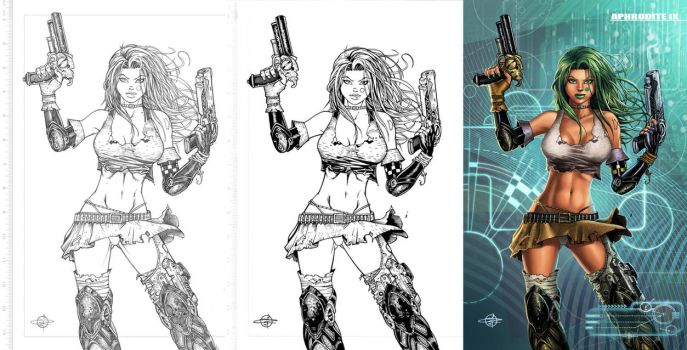 Aphrodite ix process - pencils, ink and colours by Carl-Riley-Art