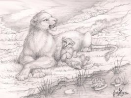 Mother and her cub by OmegaLioness