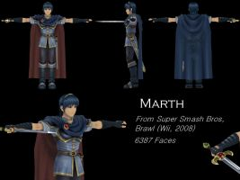 Marth 3D Model, SSBB by Vert092