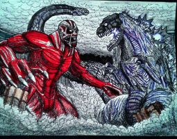 COLOSSAL TITAN VS SHIN-GOJIRA (Colored Version) by Erickzilla