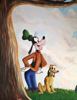 Goofy and Pluto Mural Painting by Bonniemarie