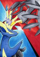 Yveltal and Xerneas by BlueSpirit12
