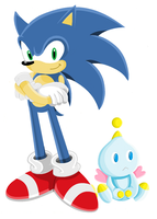Sonic and Chao by bluexbabex1o7