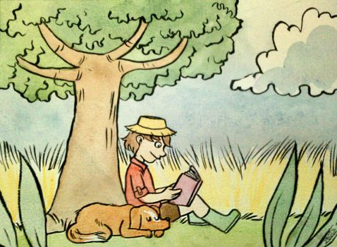 Reading under a tree by zelie