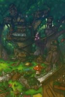 A village in the forest by nyanyo