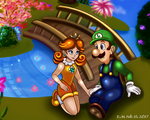 SMB- Luigi and Daisy by The-Card-Player