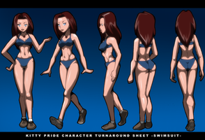 Kitty Pryde Character Turnaround Sheet (Swimsuit) by Severflame