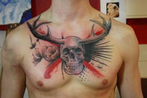 skull chest piece by SimplyTattoo
