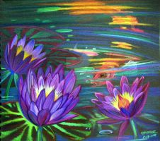 Koi and Waterlily by HouseofChabrier