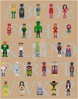 Superhero Alphabet sampler cross stitch pattern by avatarswish