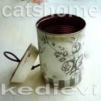decorative tins made by napkin decoupage 4 by catshome