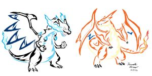 Mega Charizard X And Y Tribal by ArchangelVampire