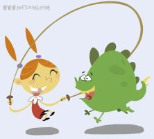 Girl and dino 2 by nef