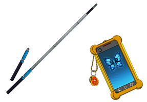 Lorith Grimm weapon and cellphone redone by Slashbunny-chan