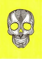 Tangled Skull on Yellow by th451