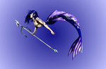 Merman with spear by moondragonwings