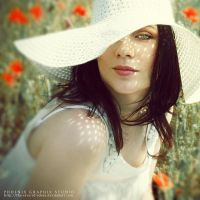 . . . girl with a white hat by phoenixgraphixstudio