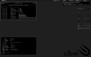 Screenshoot i3wm+Archlinux setup monochrome dark by elhackerlibre