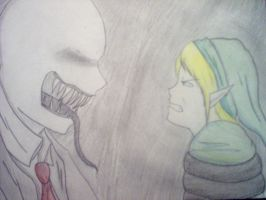 Link Vs Slenderman by sly-awesomeness