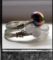 Pearl + Frost wire wrap rings by Moonthrall