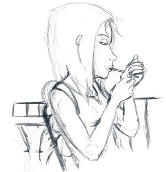 Shay smoking sketch preview by Mekari