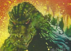 Godzilla Sketch Card by JeffLafferty