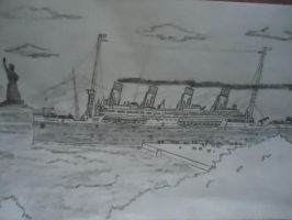 Titanic2 sailing in New York by SammfeatBlueheart