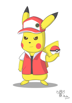 Pikachu cosplayeur: Old_Red Costume. by andre1007