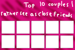 Top 10 shippings you like as close friends better by Marfairy