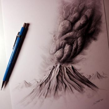 Volcano Drawing by LethalChris
