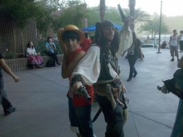 Luffy and Captain Jack Sparrow by TheDragonPaladin