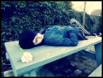 Laying on Bench by Pixie191